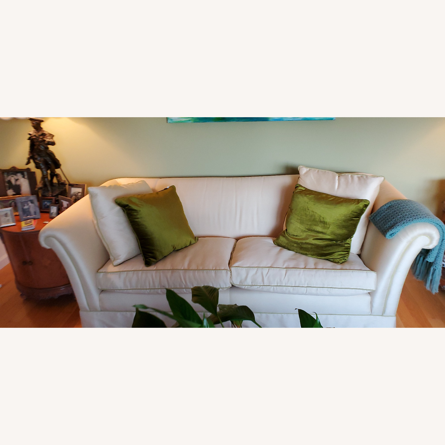 Elegant Cream Silk Brunschwig & Fils Feather Couch - image-2