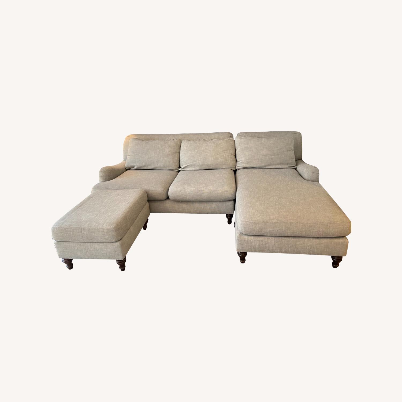 Pottery Barn Carlisle Upholstered Sofa + Ottoman - image-0