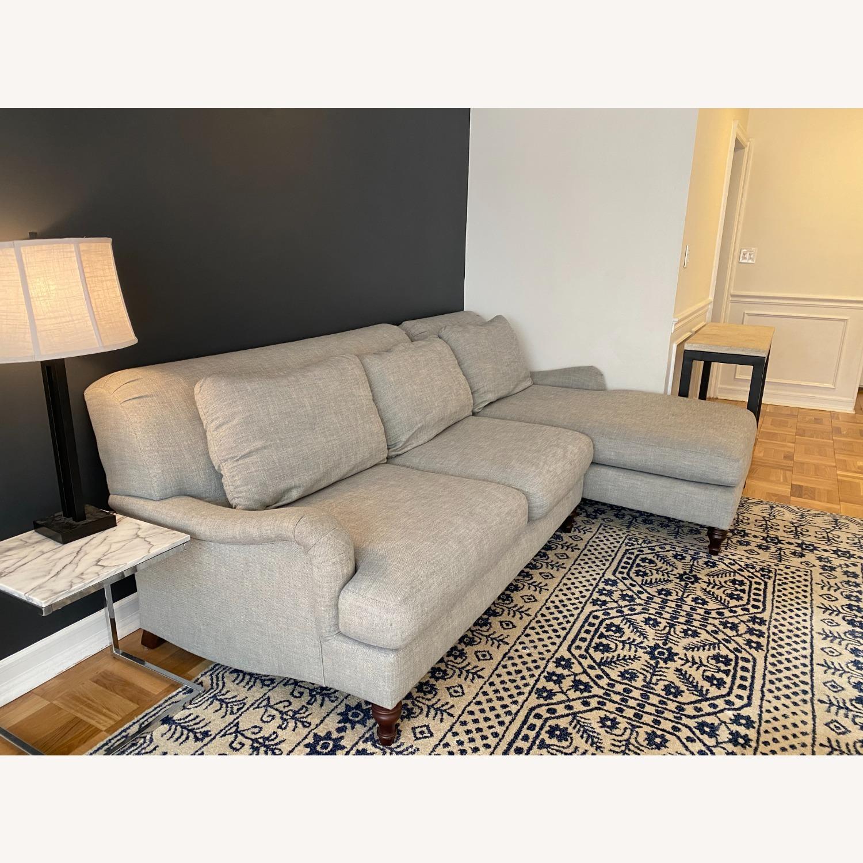 Pottery Barn Carlisle Upholstered Sofa + Ottoman - image-3