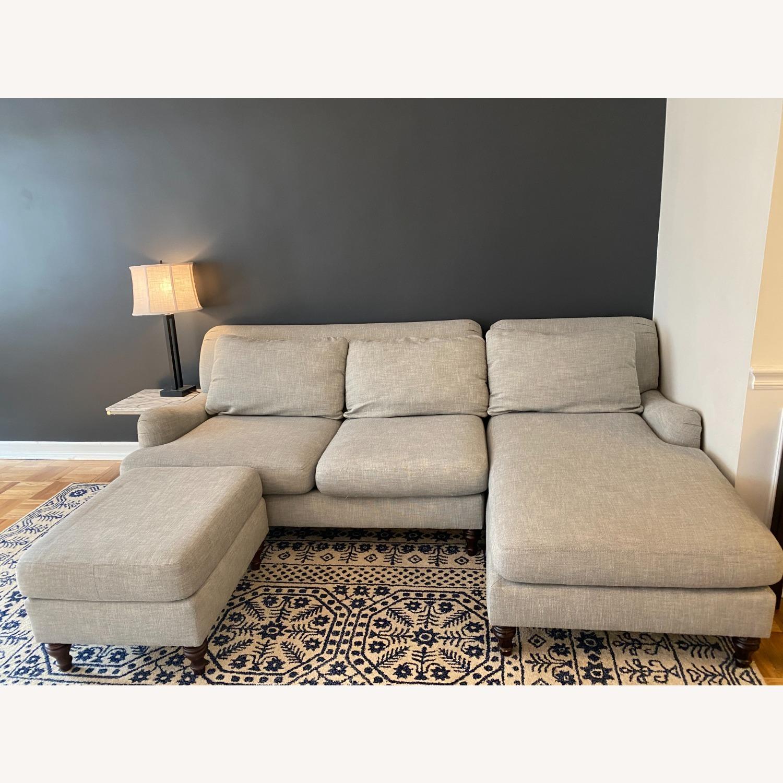Pottery Barn Carlisle Upholstered Sofa + Ottoman - image-5