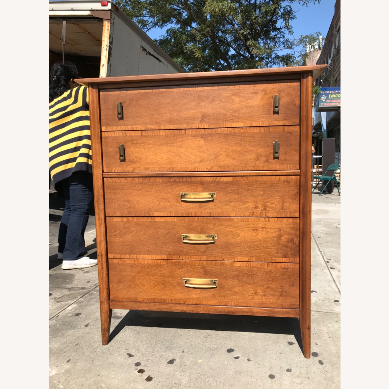 Stanley  Vintage Mid Century 1950s Walnut Dresser - image-1