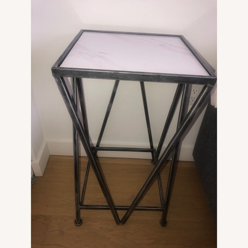 Used Marble Side Table with Silver Brass Legs for sale on AptDeco