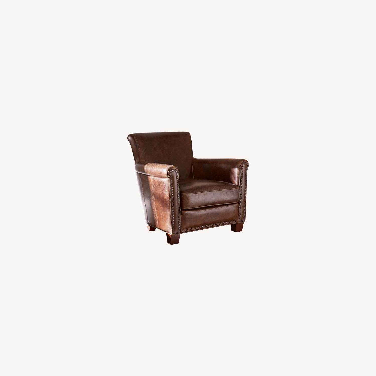 Pottery Barn Accent Chair Dark Brown Leather - image-0