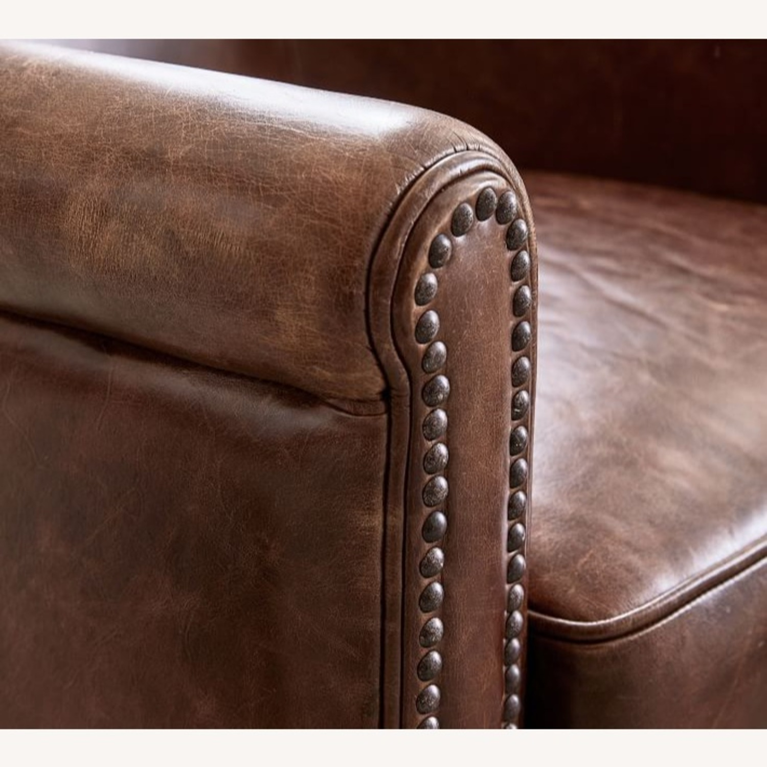 Pottery Barn Accent Chair Dark Brown Leather - image-2