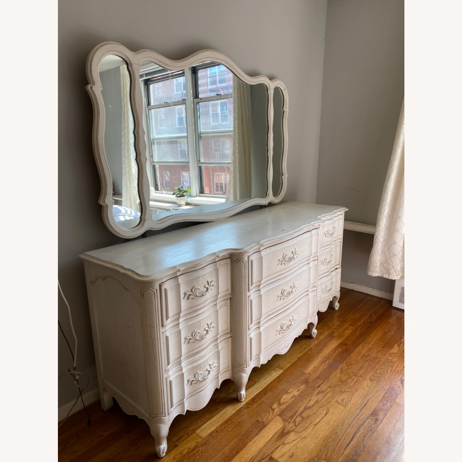 Vintage White Dresser with Mirror - image-3