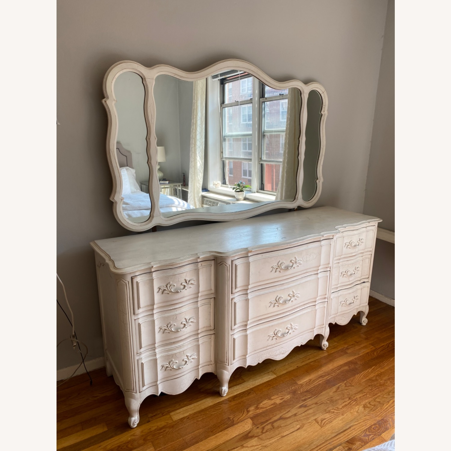 Vintage White Dresser with Mirror - image-2