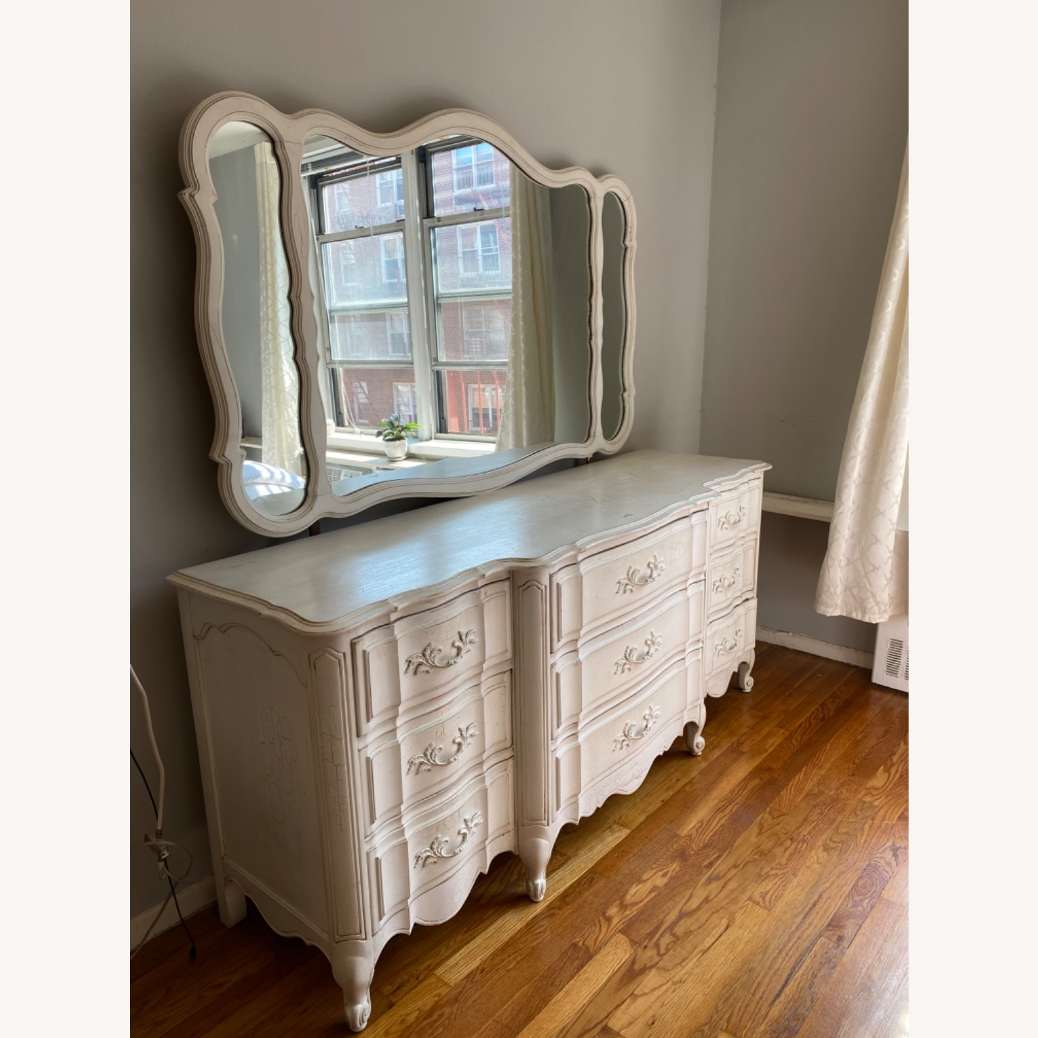 Vintage White Dresser with Mirror - image-1