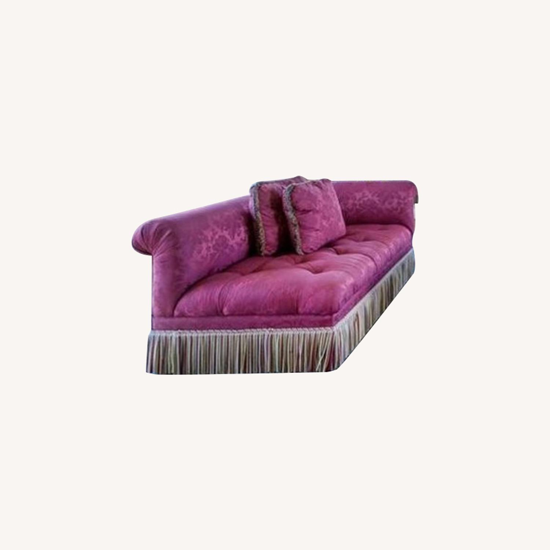 One High-End Satin Damask Sofa with Bullion Fringe - image-0