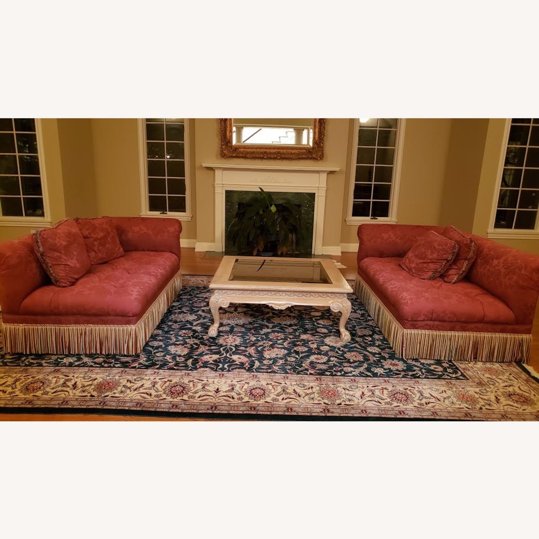 One High-End Satin Damask Sofa with Bullion Fringe - image-2