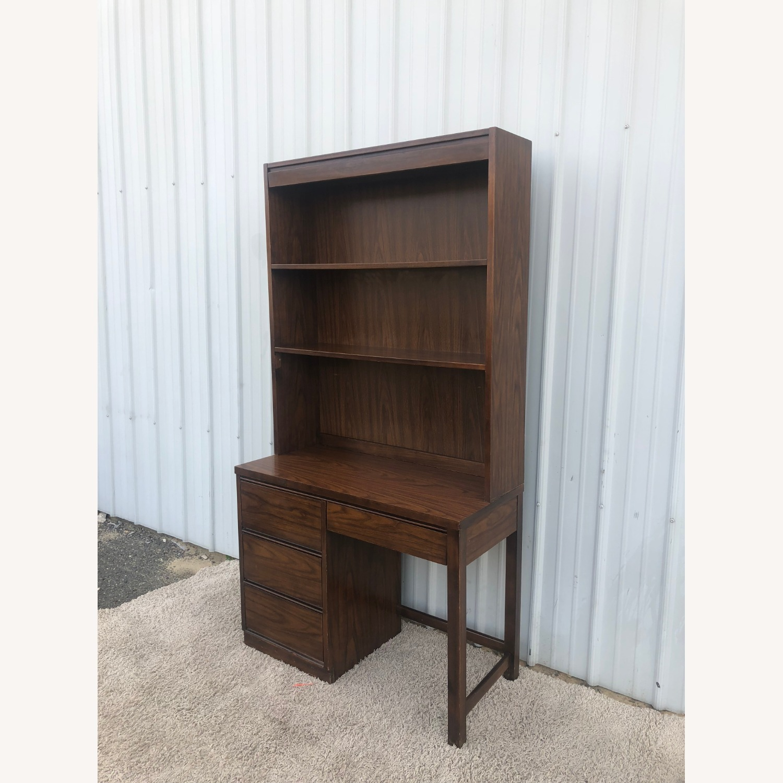 Mid Century Writing Desk with Shelving Unit - image-1