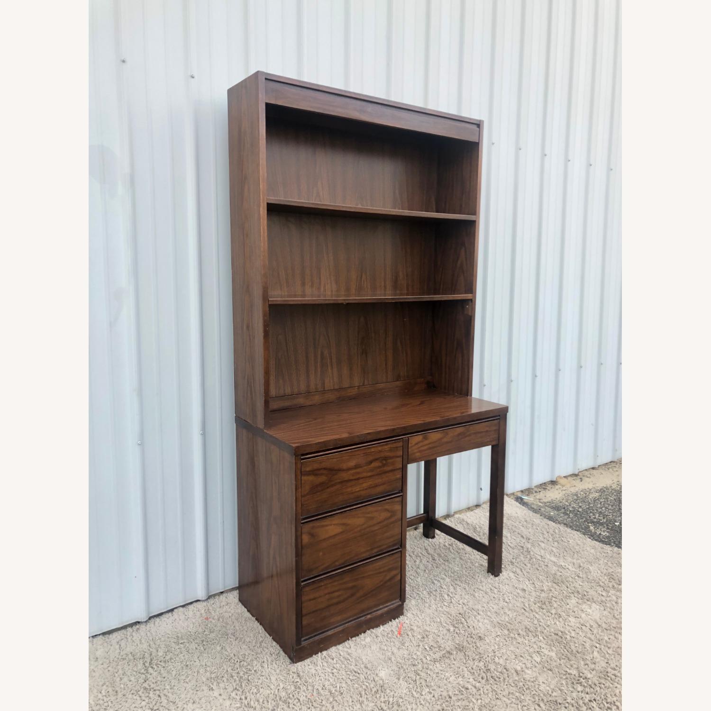 Mid Century Writing Desk with Shelving Unit - image-3