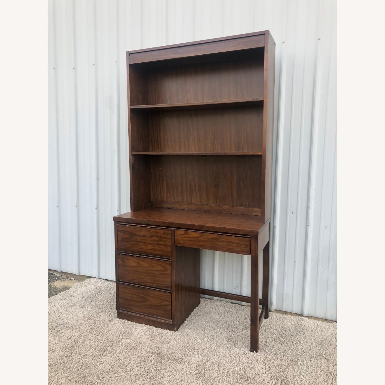 Mid Century Writing Desk with Shelving Unit - image-9