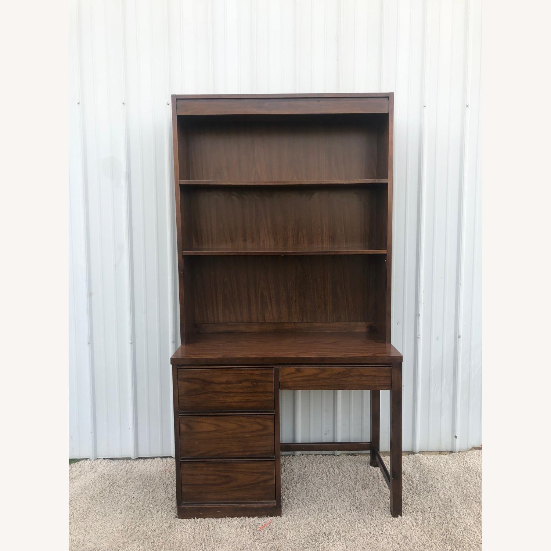 Mid Century Writing Desk with Shelving Unit - image-0