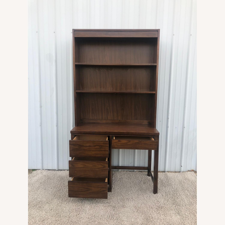 Mid Century Writing Desk with Shelving Unit - image-6