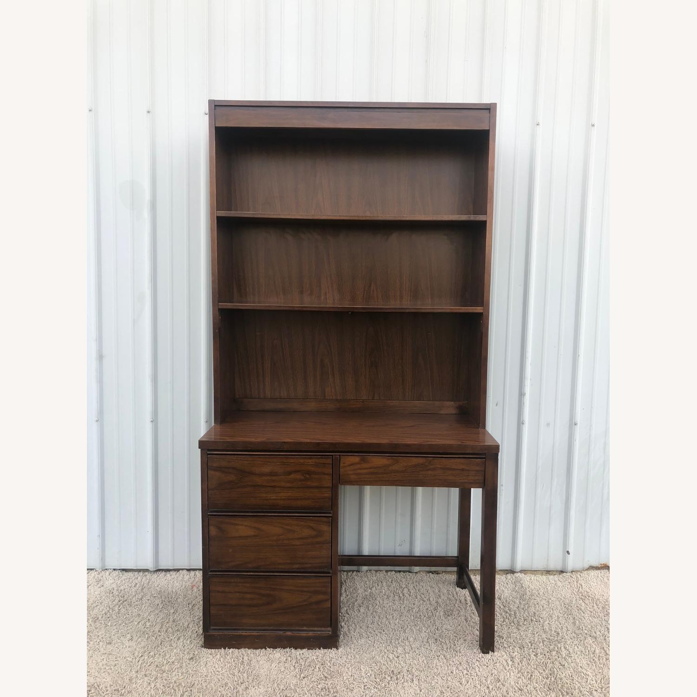 Mid Century Writing Desk with Shelving Unit - image-10
