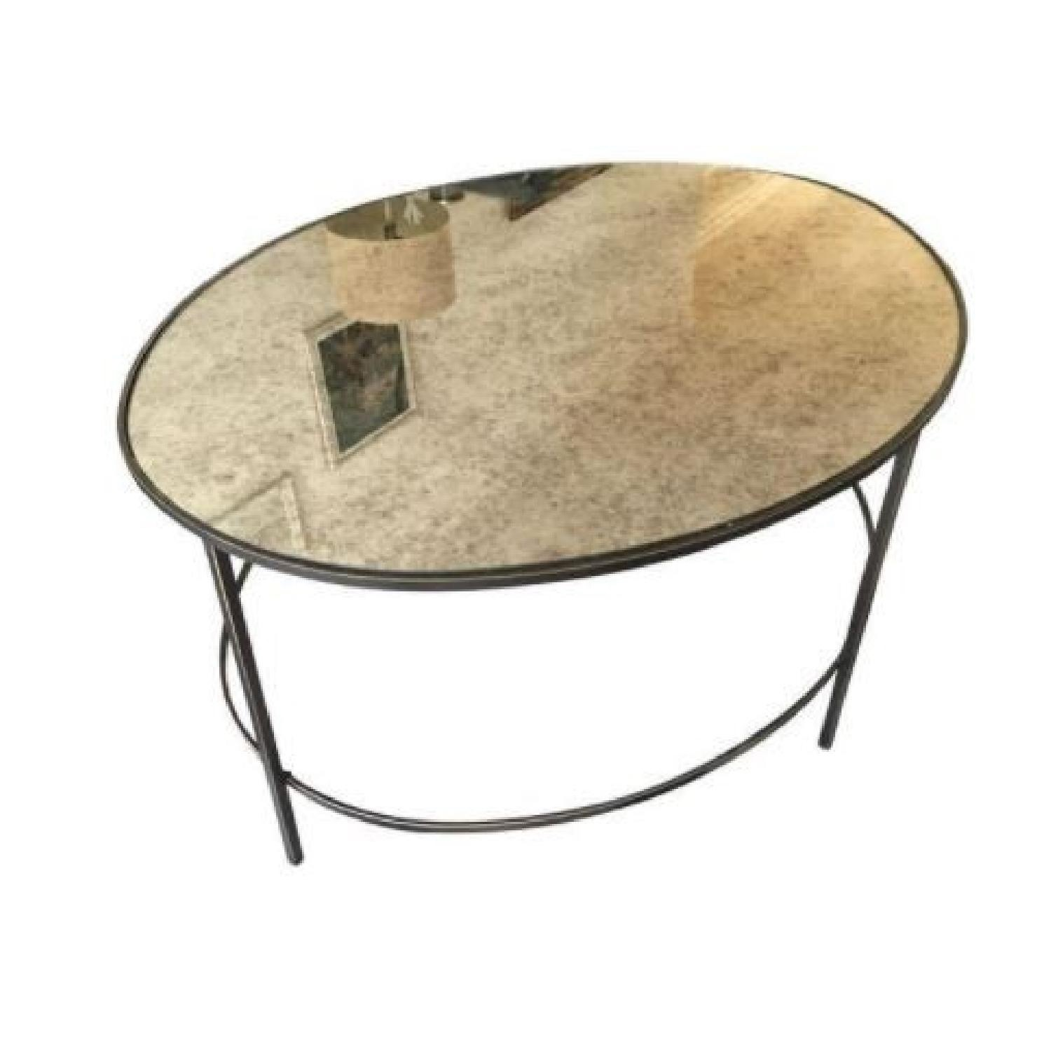 West Elm Foxed Mirrored Glass Oval Coffee Table - image-1