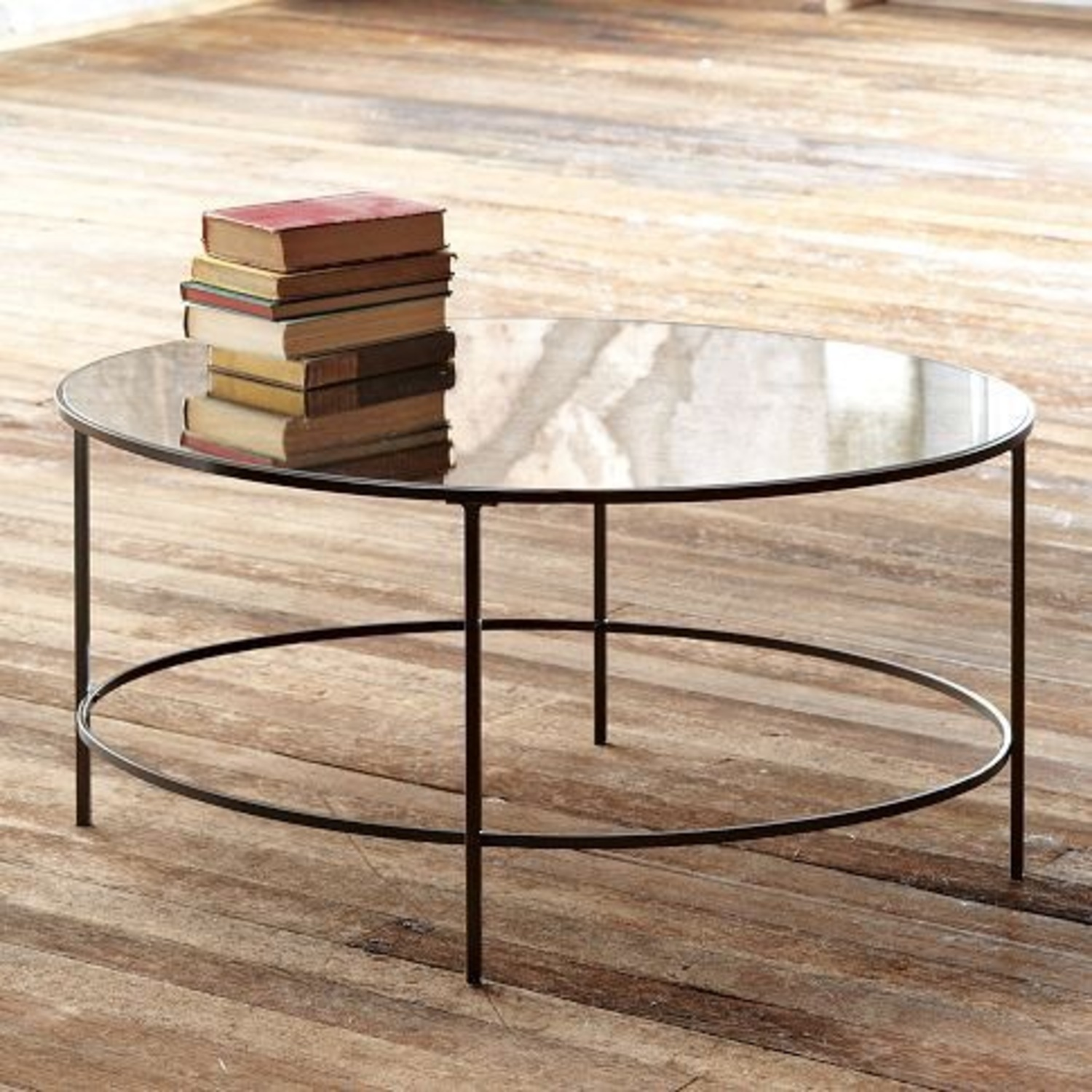 West Elm Foxed Mirrored Glass Oval Coffee Table - image-0