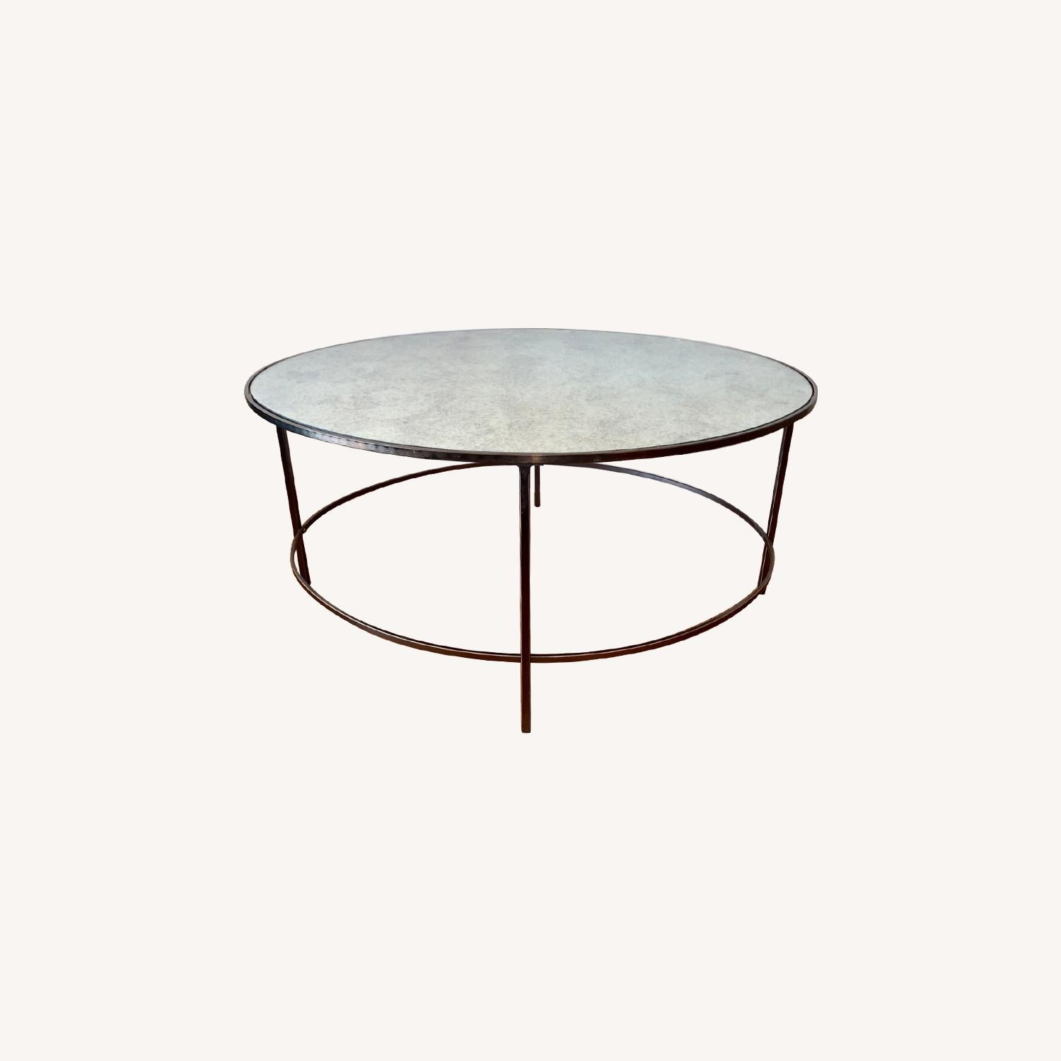 West Elm Foxed Mirrored Glass Oval Coffee Table - image-2
