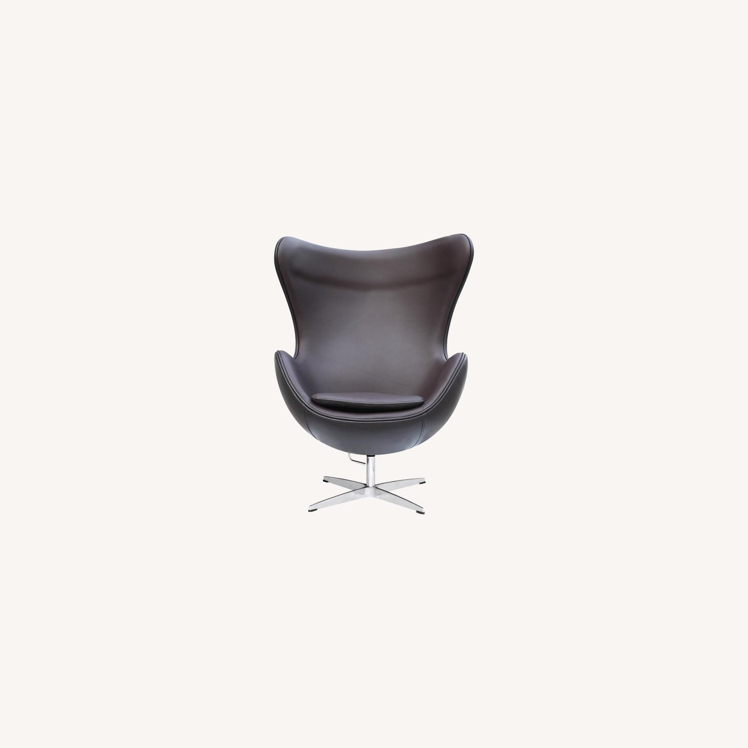 Inner Chair In Brown Leather W/ Fiberglass Frame - image-7
