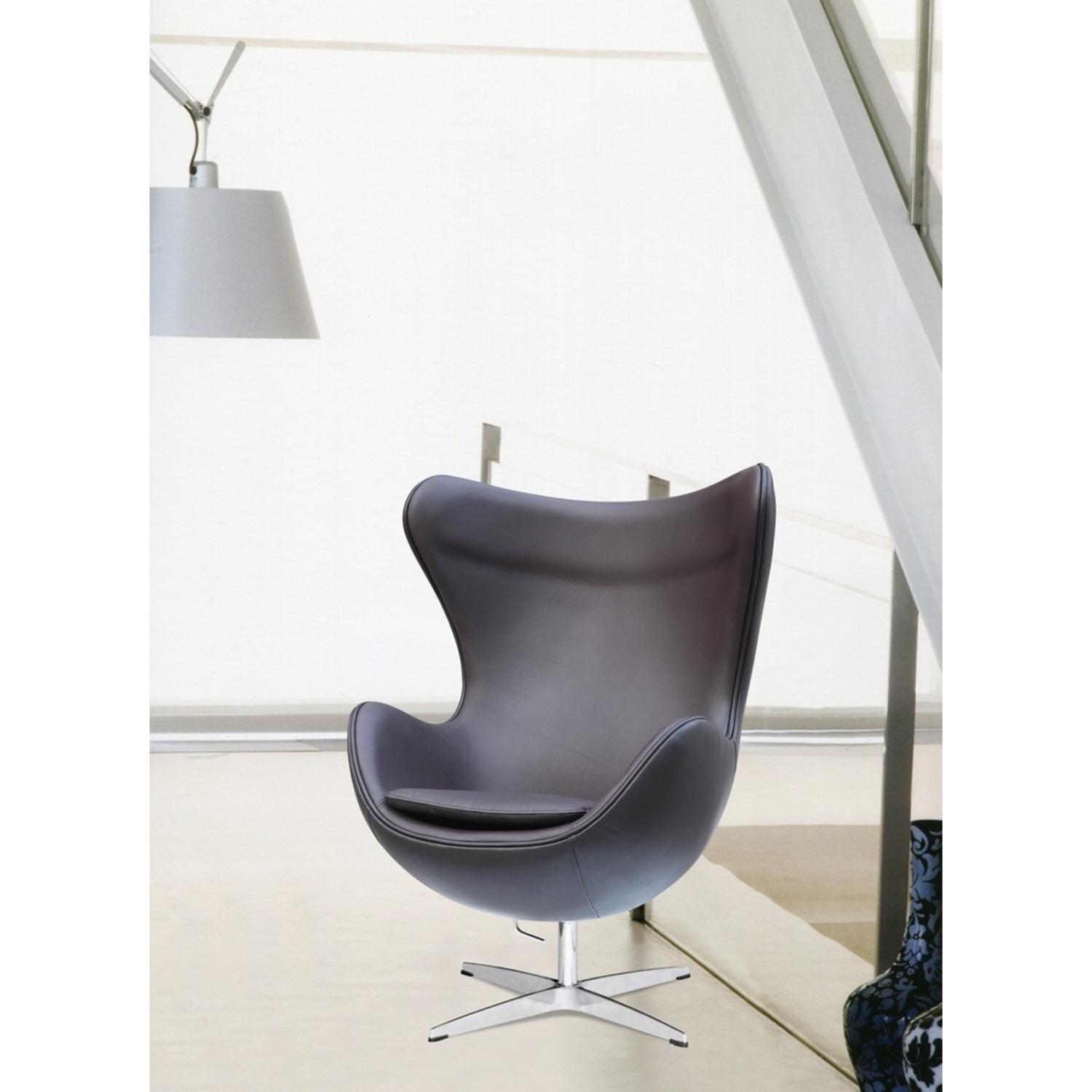 Inner Chair In Brown Leather W/ Fiberglass Frame - image-6