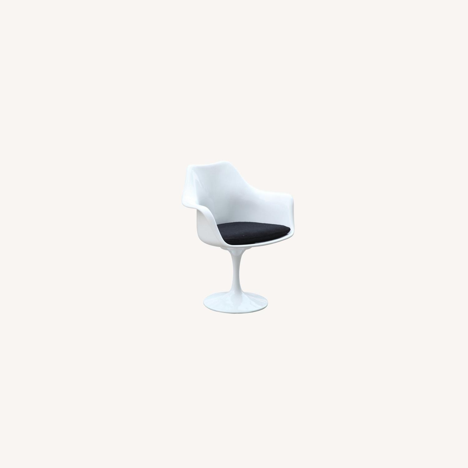 Flower Armchair In White Frame & Black Suede - image-6