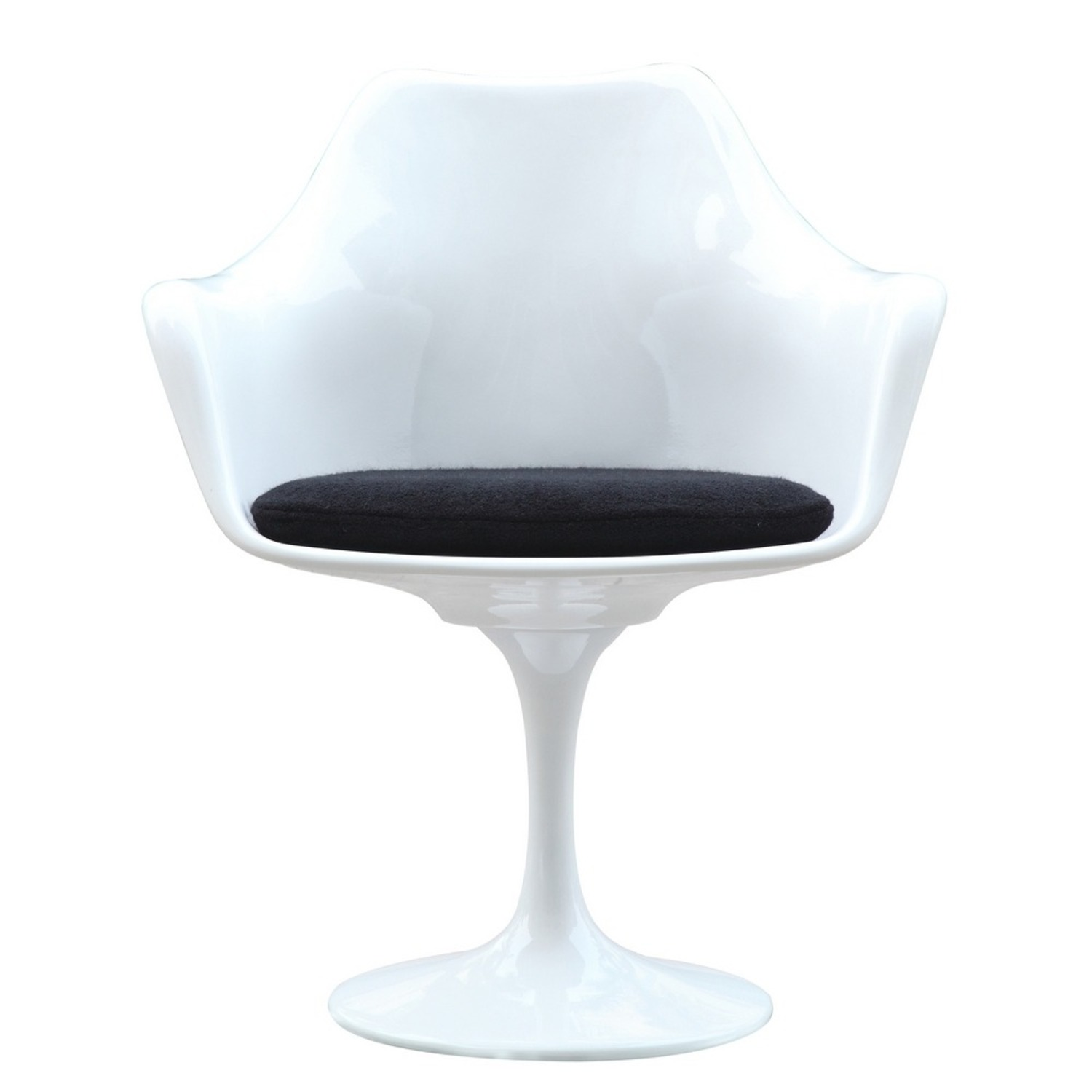 Flower Armchair In White Frame & Black Suede - image-5