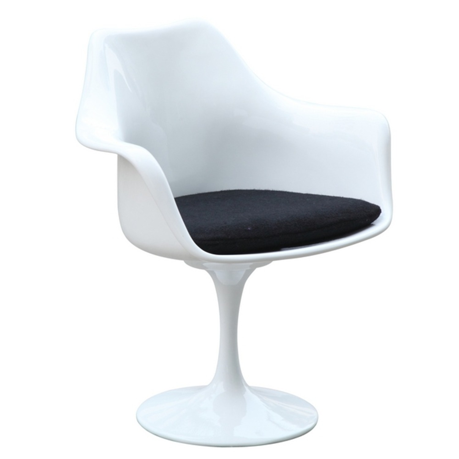 Flower Armchair In White Frame & Black Suede - image-0