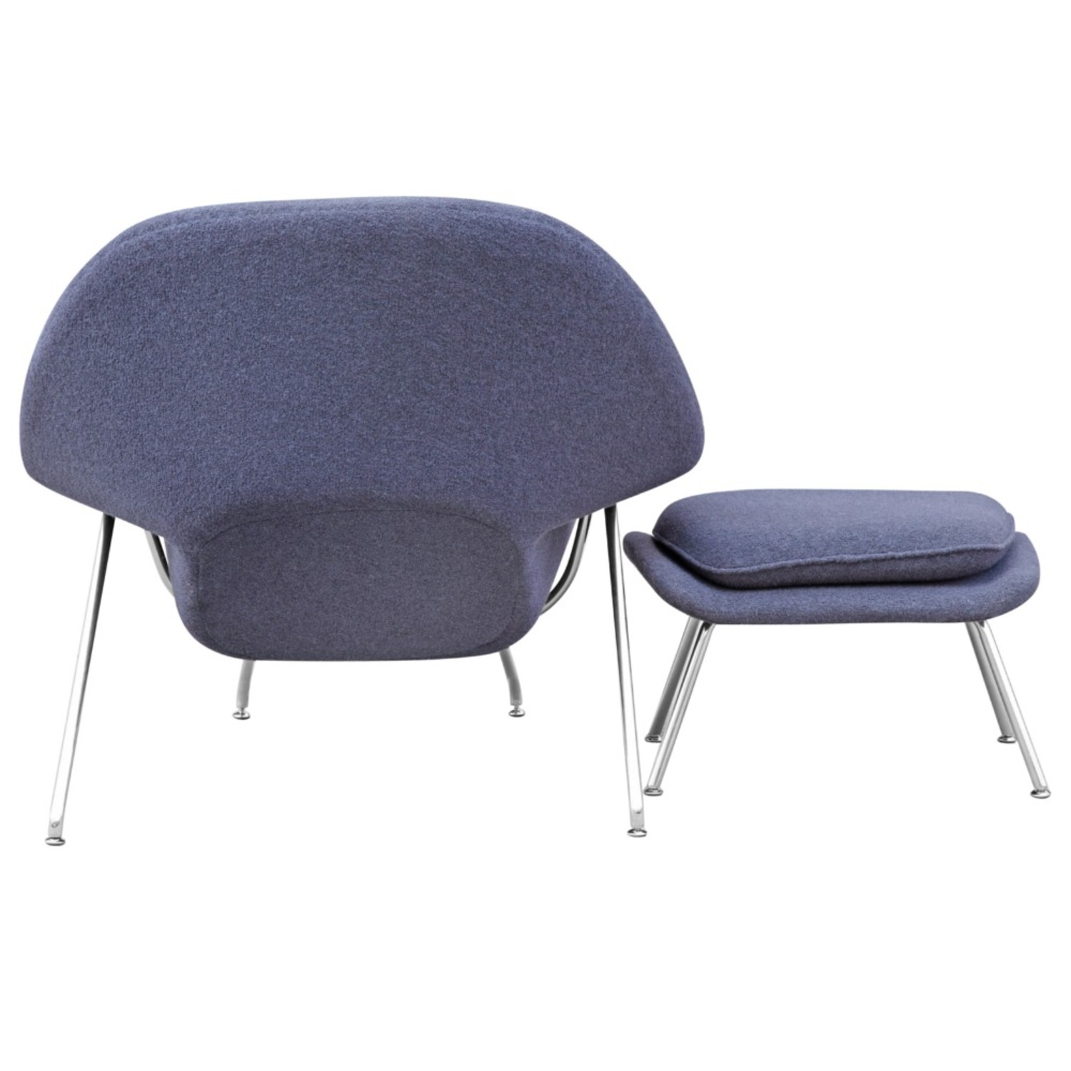 Chair & Ottoman Covered In Gray Wool Fabric - image-2