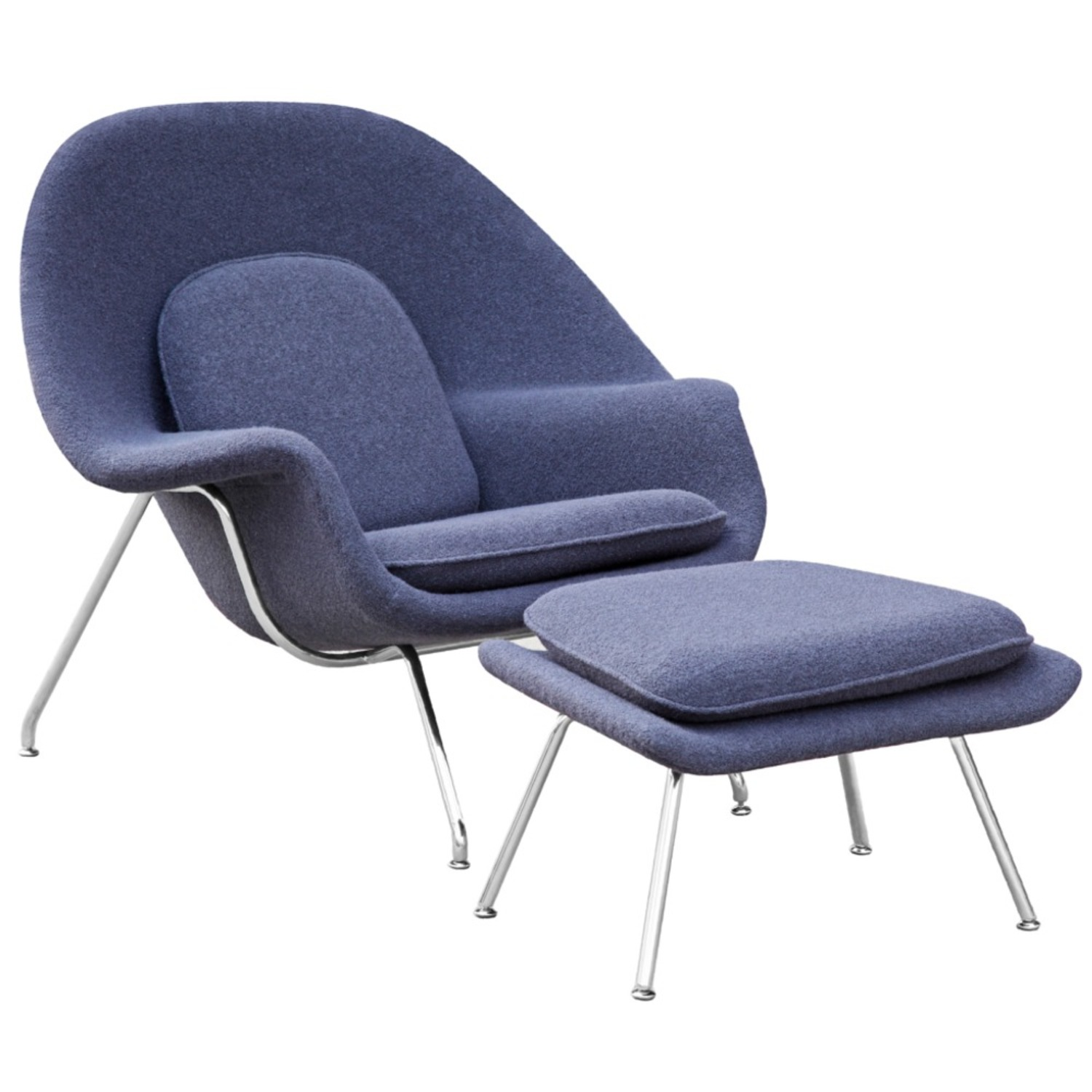 Chair & Ottoman Covered In Gray Wool Fabric - image-0