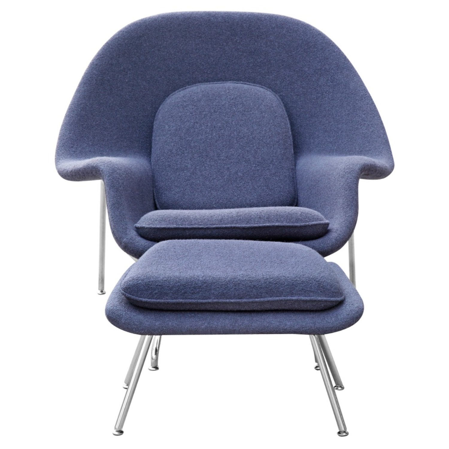 Chair & Ottoman Covered In Gray Wool Fabric - image-5