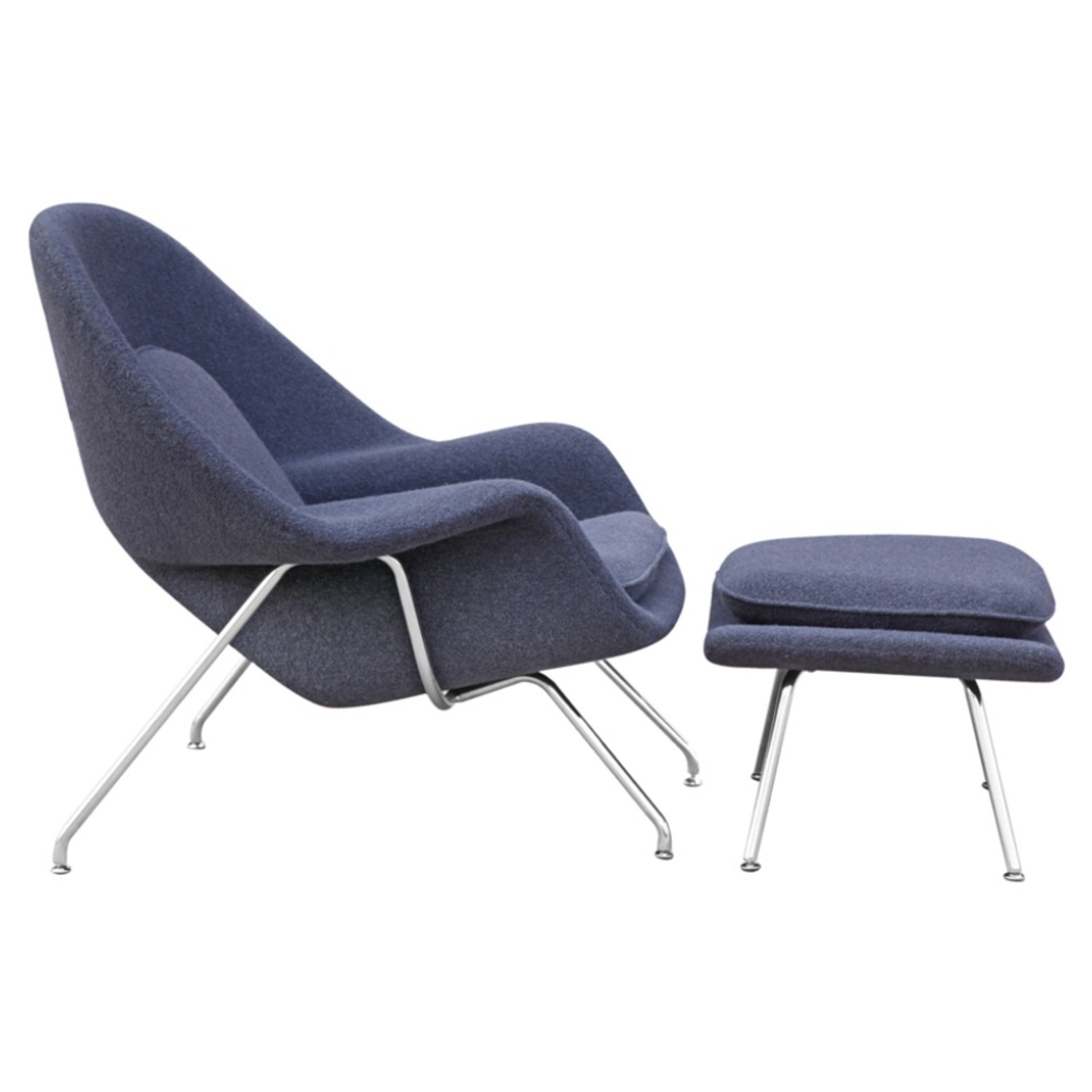 Chair & Ottoman Covered In Gray Wool Fabric - image-1