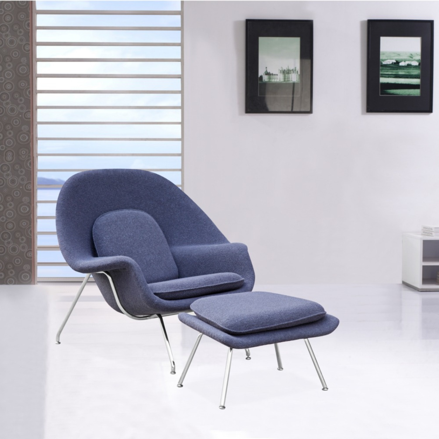 Chair & Ottoman Covered In Gray Wool Fabric - image-6