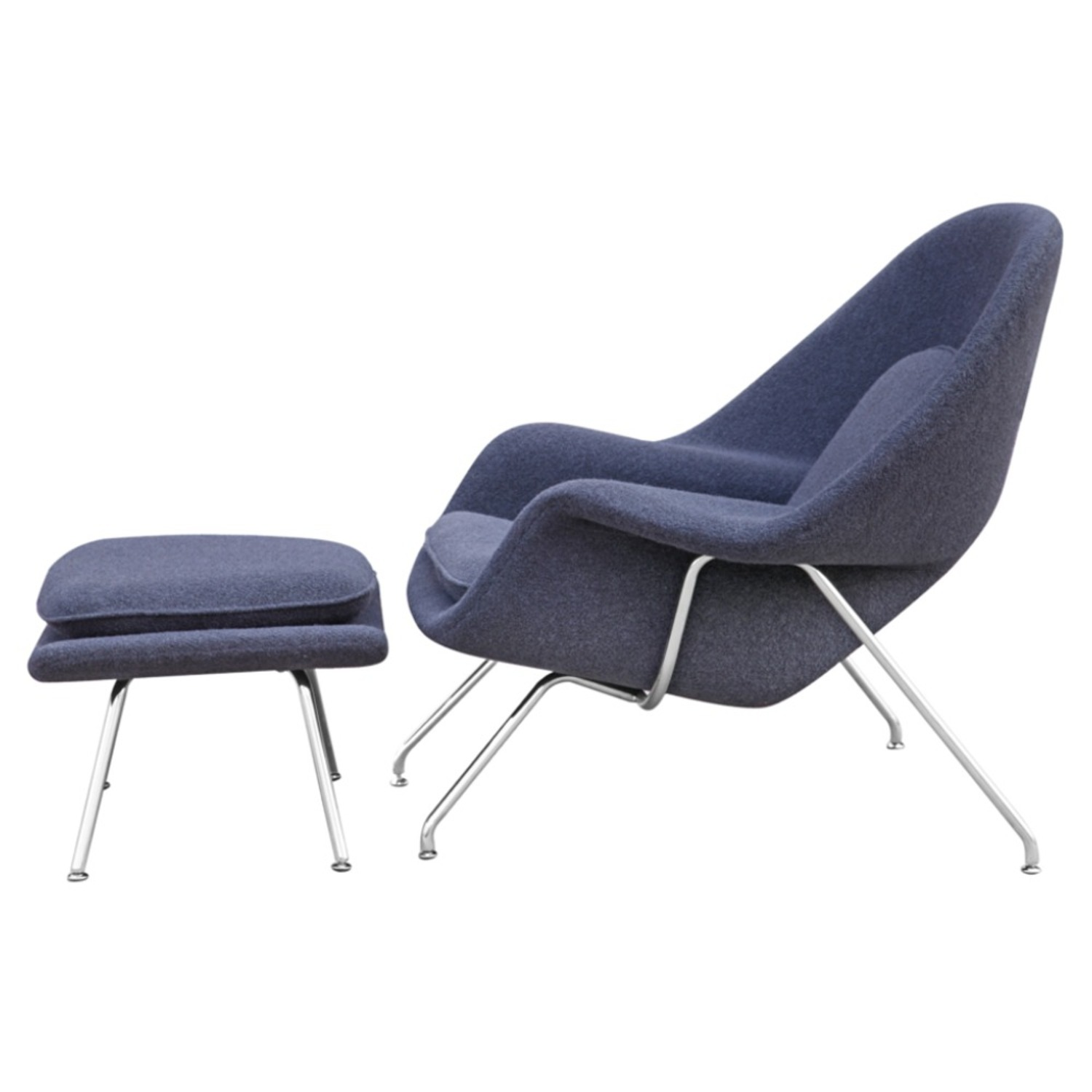 Chair & Ottoman Covered In Gray Wool Fabric - image-3