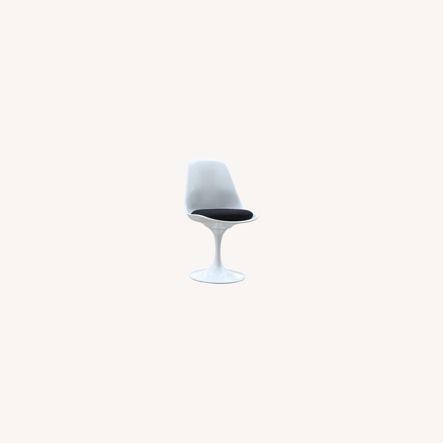 Side Chair In White ABS Frame & Black Fabric - image-6