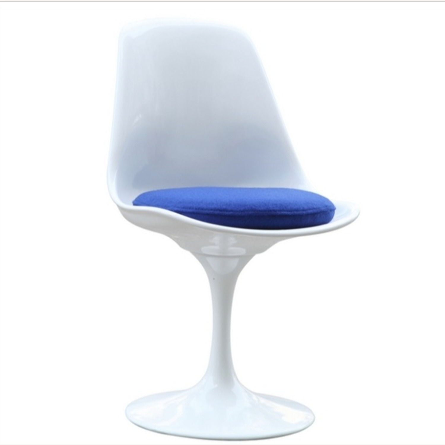 Side Chair In White ABS Frame & Blue Fabric - image-2