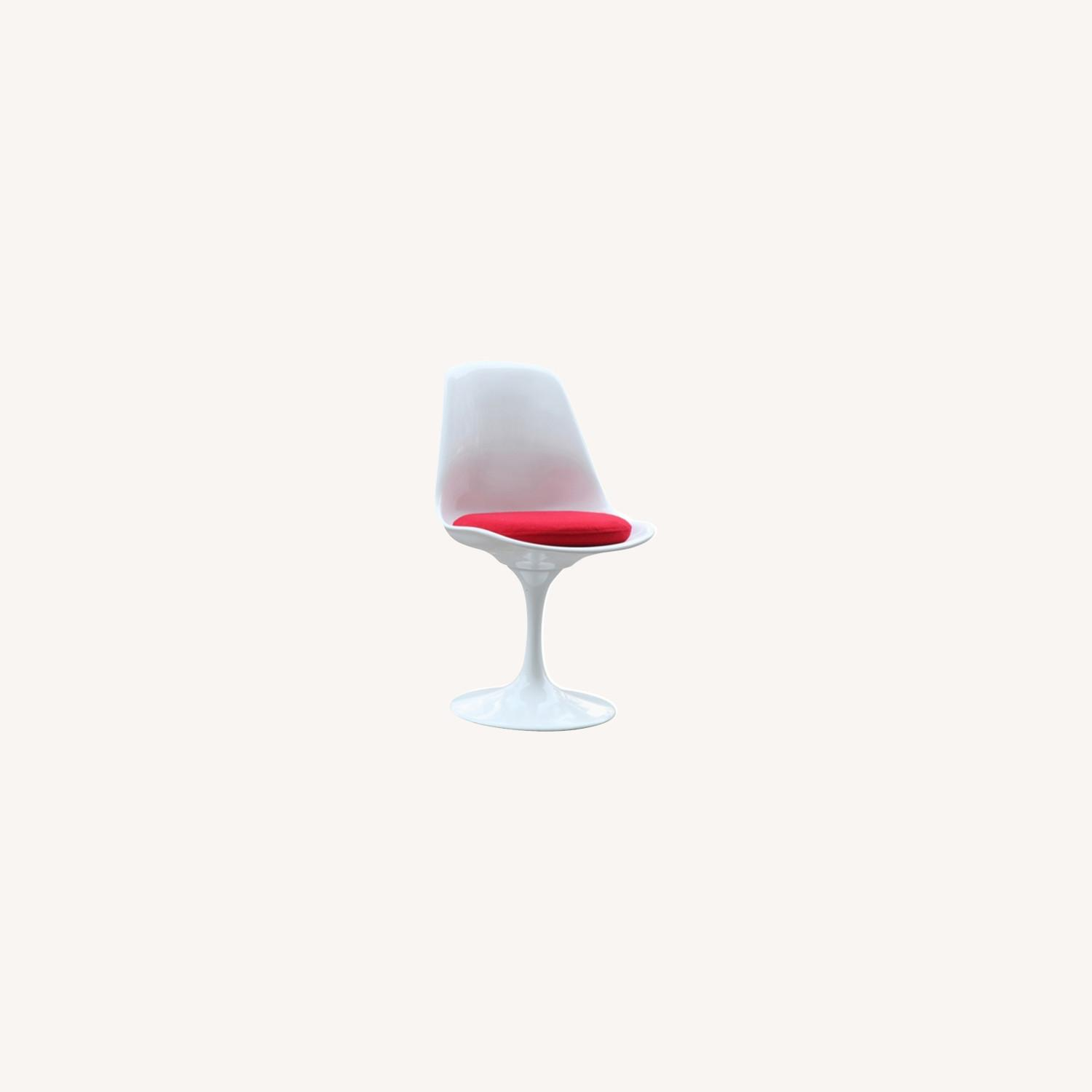 Side Chair In White ABS Frame & Red Fabric - image-3