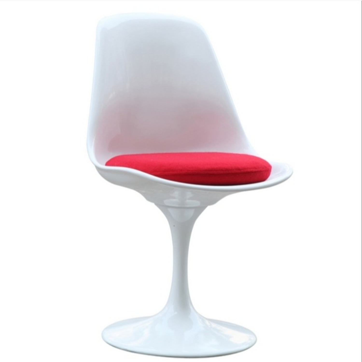 Side Chair In White ABS Frame & Red Fabric - image-1