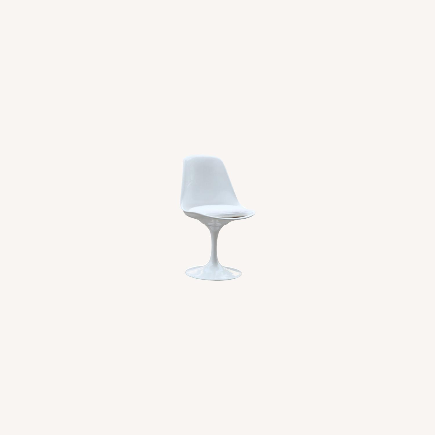 Side Chair In White ABS Frame & White Fabric - image-3