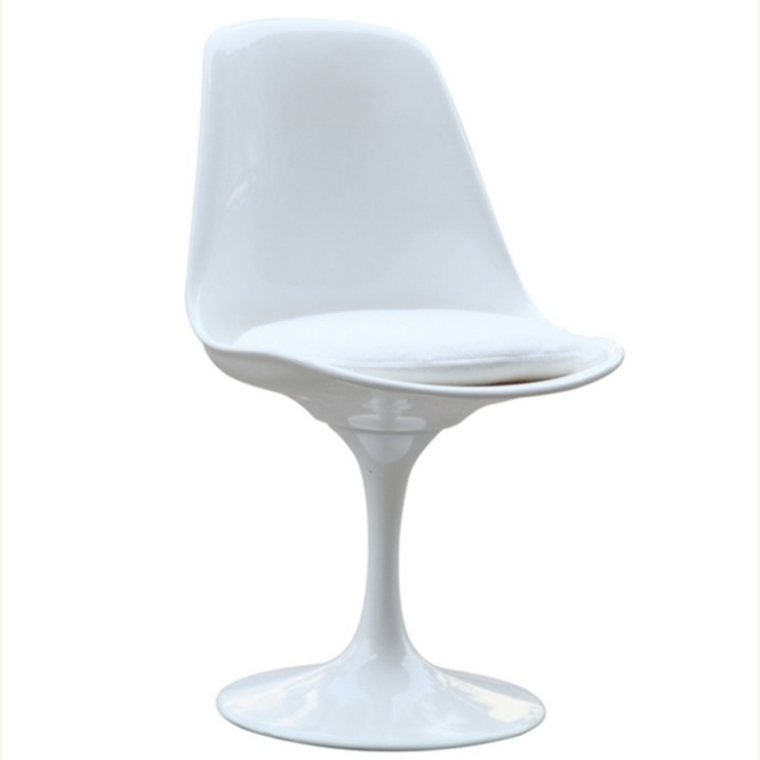 Side Chair In White ABS Frame & White Fabric - image-1