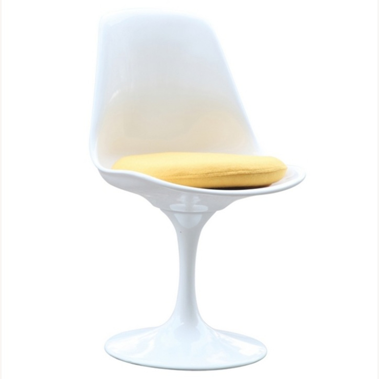 Side Chair In White ABS Frame & Yellow Fabric - image-1