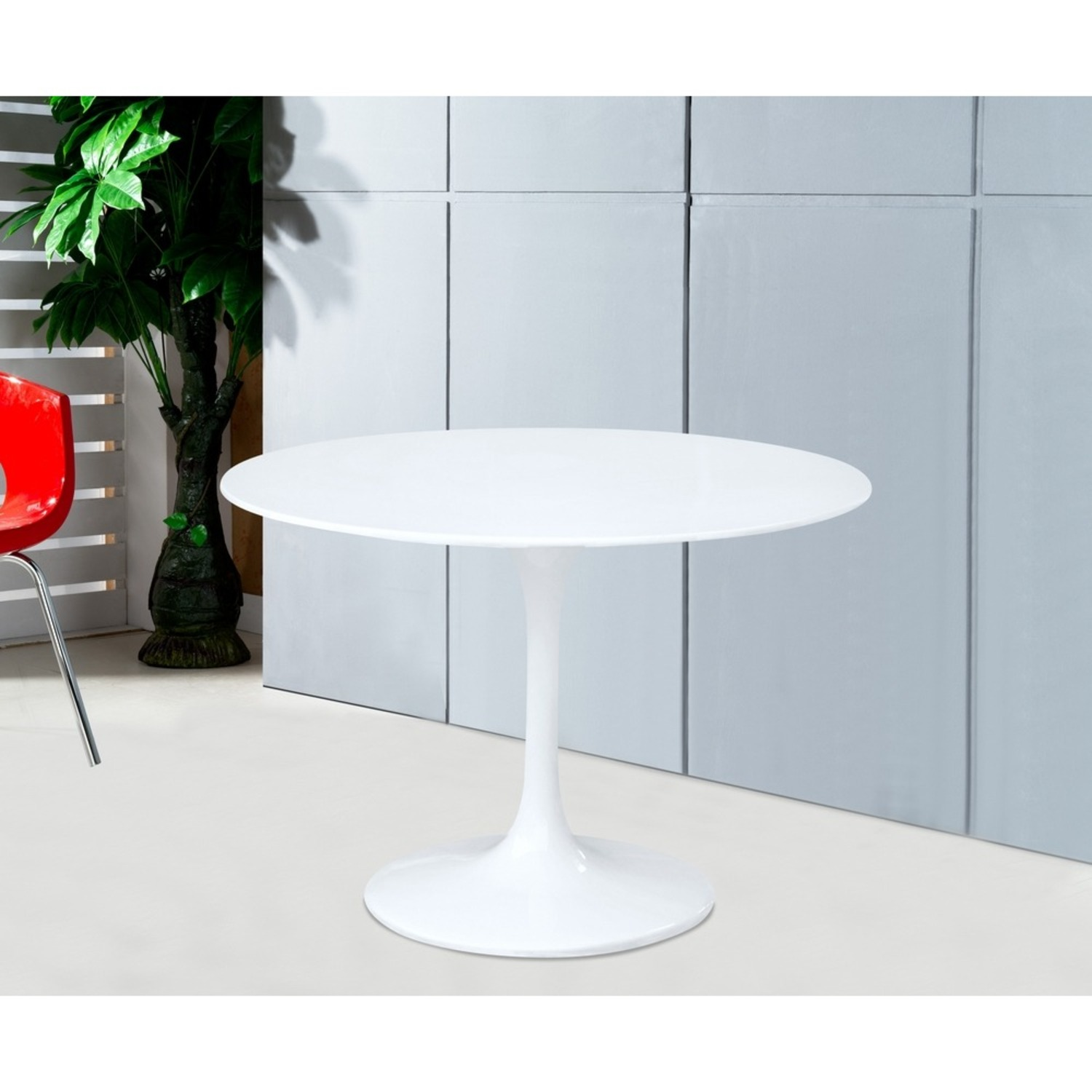 Tulip Style Dining Table In White Fiberglass - image-4