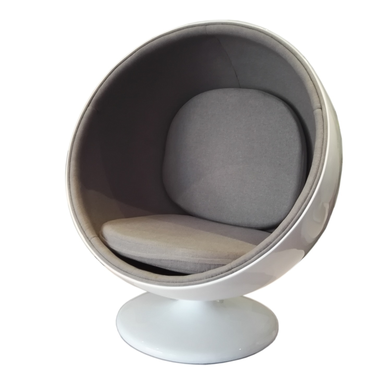 Accent Chair In White Fiberglass & Gray Cotton  - image-0