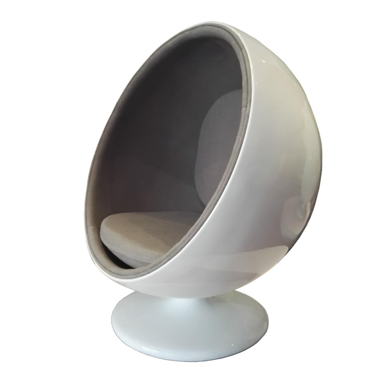 Accent Chair In White Fiberglass & Gray Cotton  - image-1