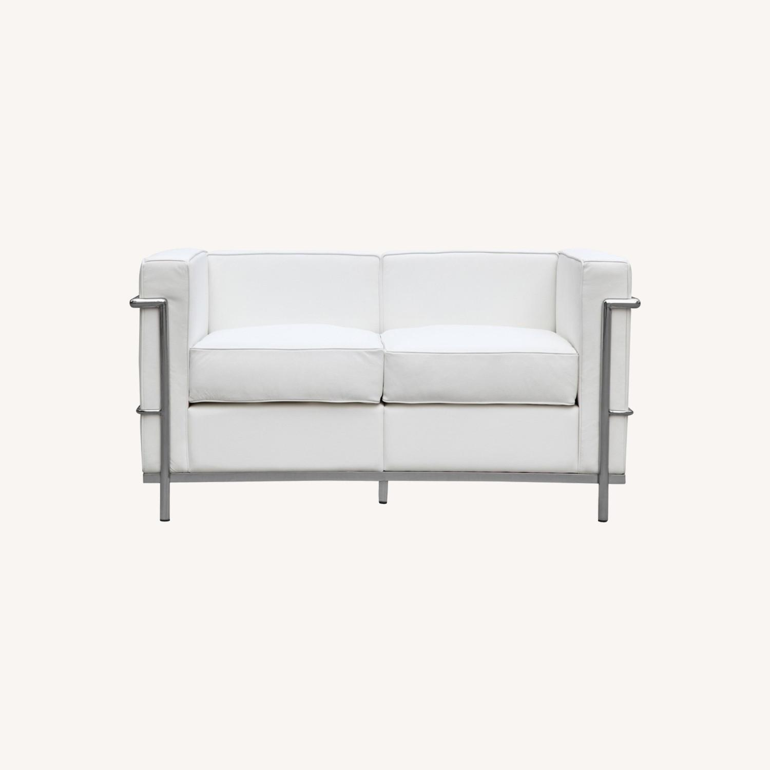Loveseat In White Leather W/ Stainless Steel Frame - image-7