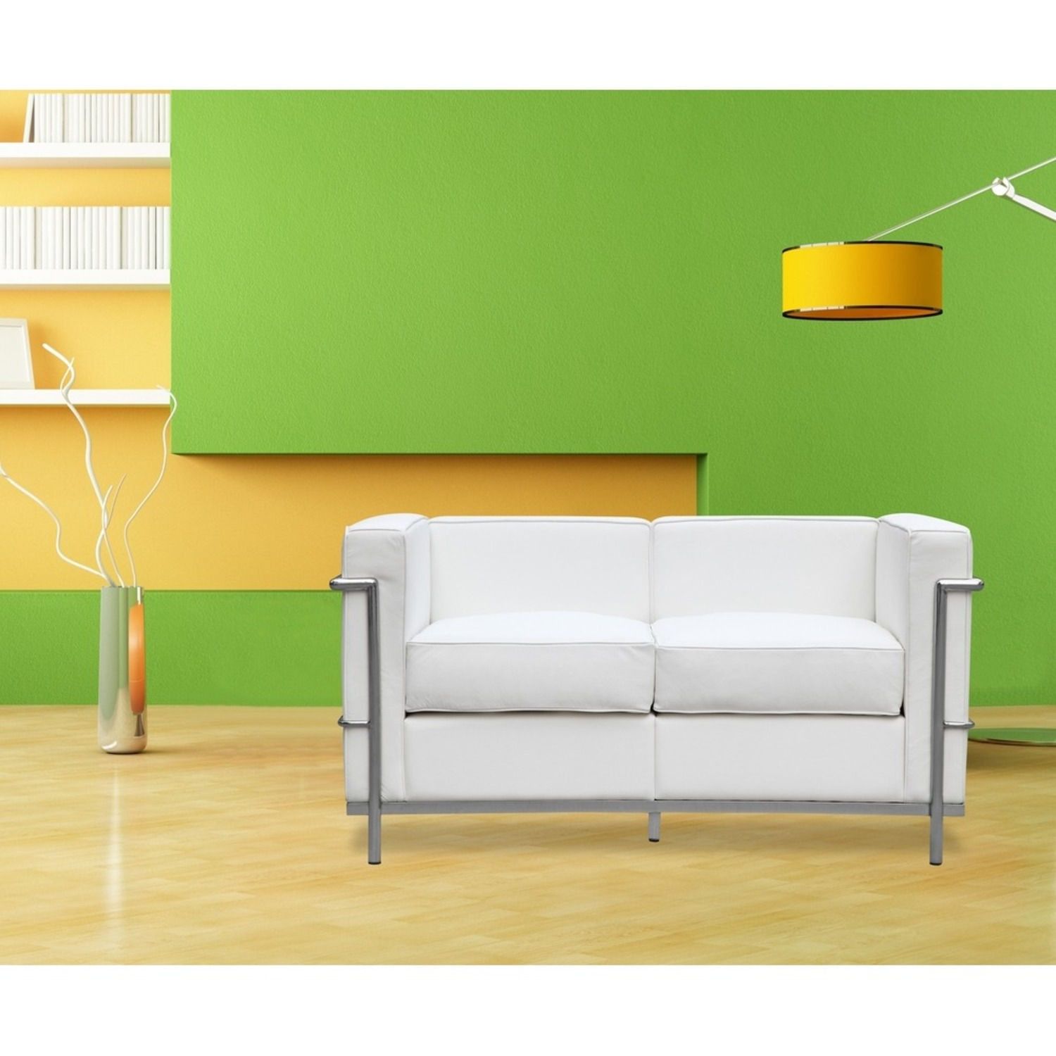 Loveseat In White Leather W/ Stainless Steel Frame - image-6