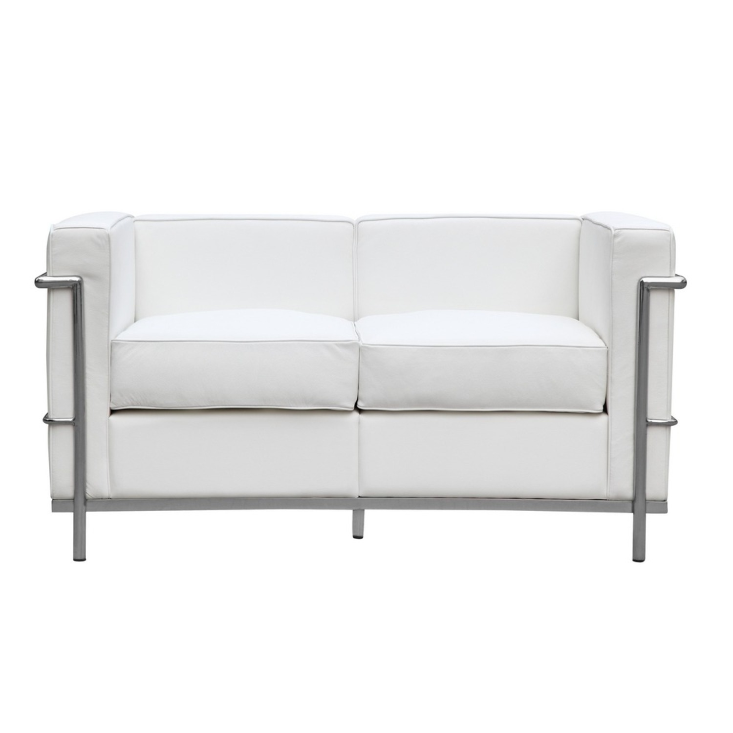 Loveseat In White Leather W/ Stainless Steel Frame - image-5