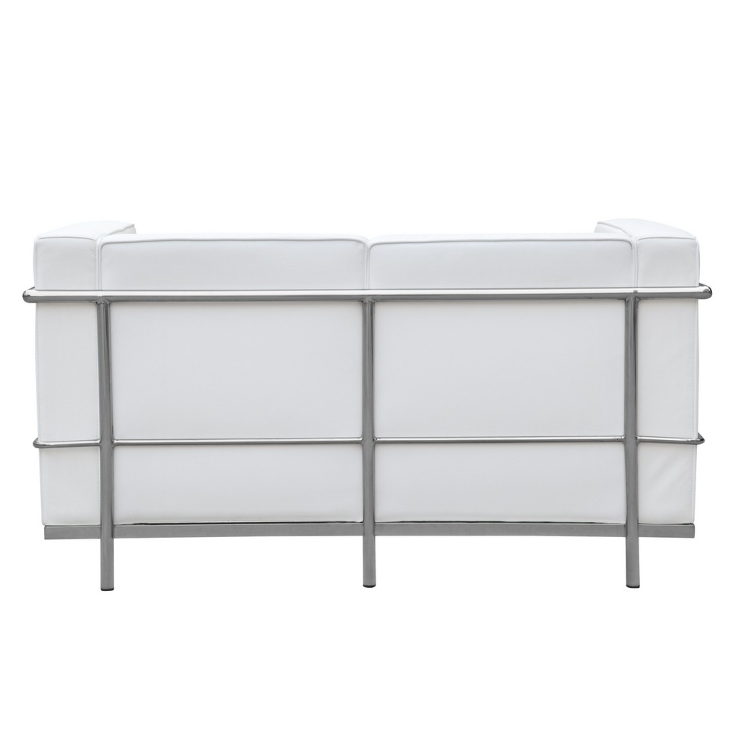 Loveseat In White Leather W/ Stainless Steel Frame - image-2