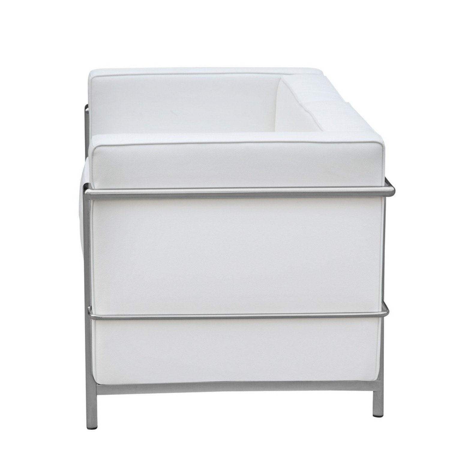 Loveseat In White Leather W/ Stainless Steel Frame - image-3