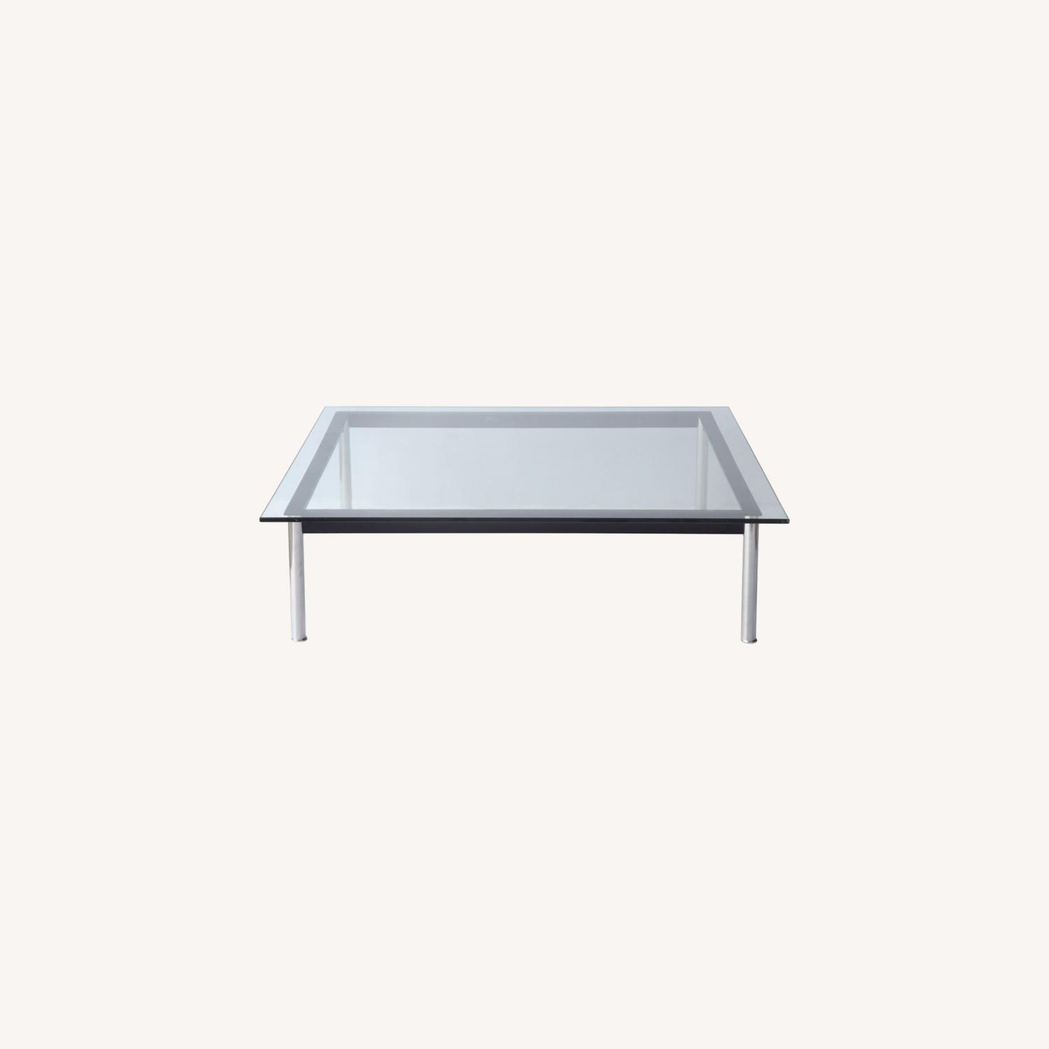 Coffee Table In Clear Chrome Finish W/ Glass Top - image-7
