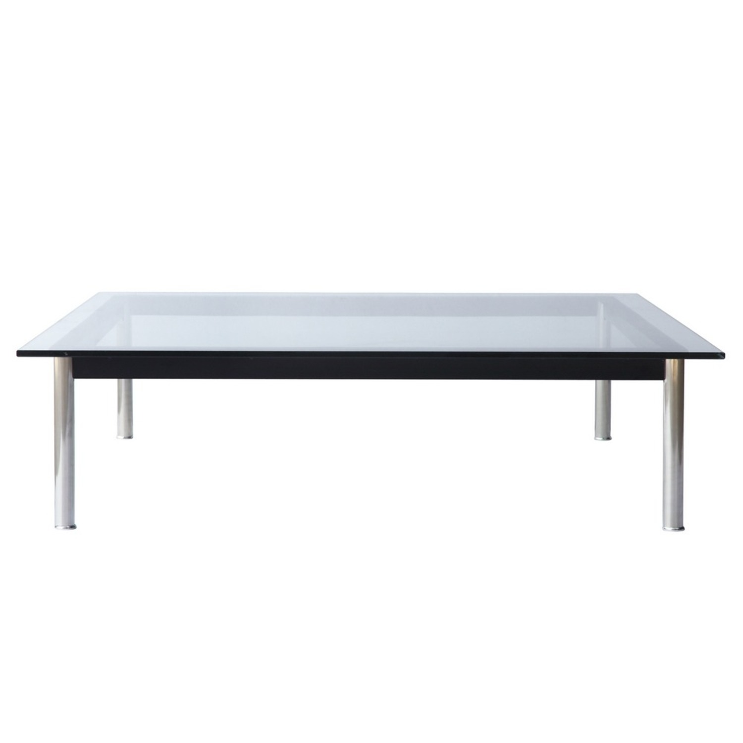 Coffee Table In Clear Chrome Finish W/ Glass Top - image-3